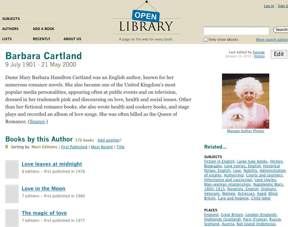 Pagina di Barbara Cartland in Open Lybrary.