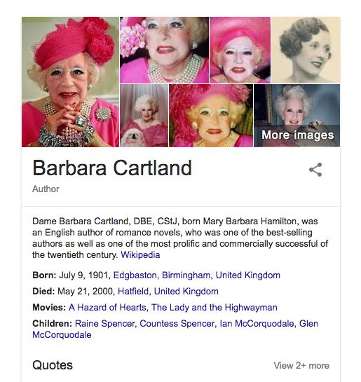 Barabara Cartland nel Google Knowledge Graph